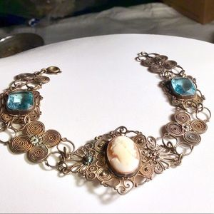 🎁ANTIQUE Cameo & Aquamarine Filigree Bracelet